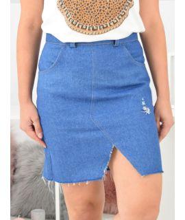 Jeansowa  spódnica strzępiona